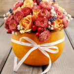 Simple Thanksgiving centerpiece made from a pumpkin