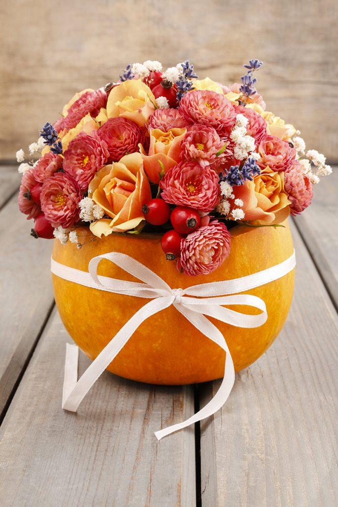 Simple Thanksgiving centerpiece made from a pumpkin