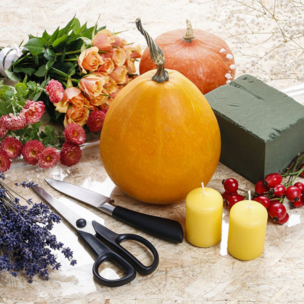 Materials needed to created a simple Thanksgiving centerpiece using a pumpkin