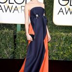 Caitriona Balfe in a stunning navy blue and red gown