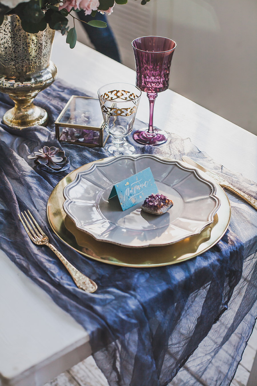 romantic winter wedding inspiration - beautiful placesetting on table with gauze fabric