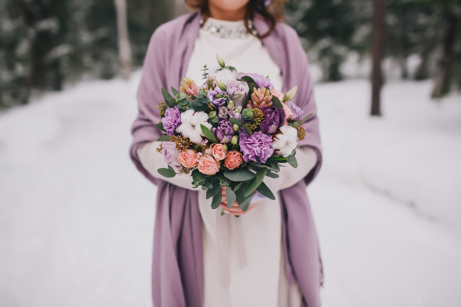 Winter Wedding Bouquet in lovely shades of lavendar and burgandy