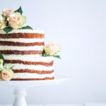 Simple Wedding Cake Inspiration naked cake with roses