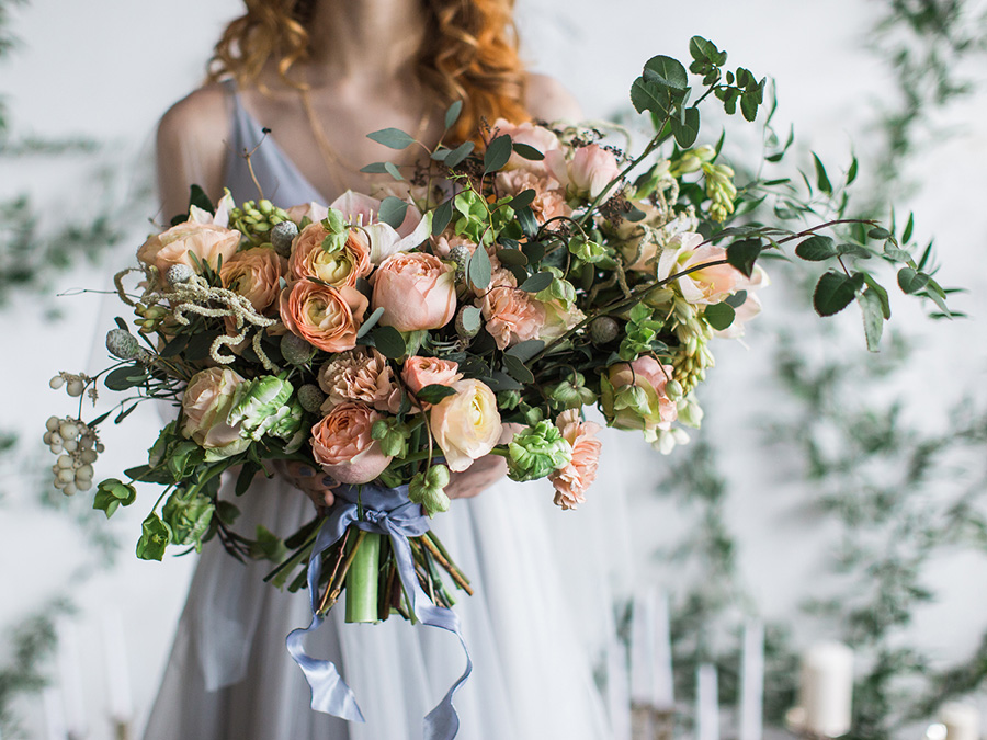 Peach, Periwinkle and Gold Wedding Inspiration oversized peach bouquet