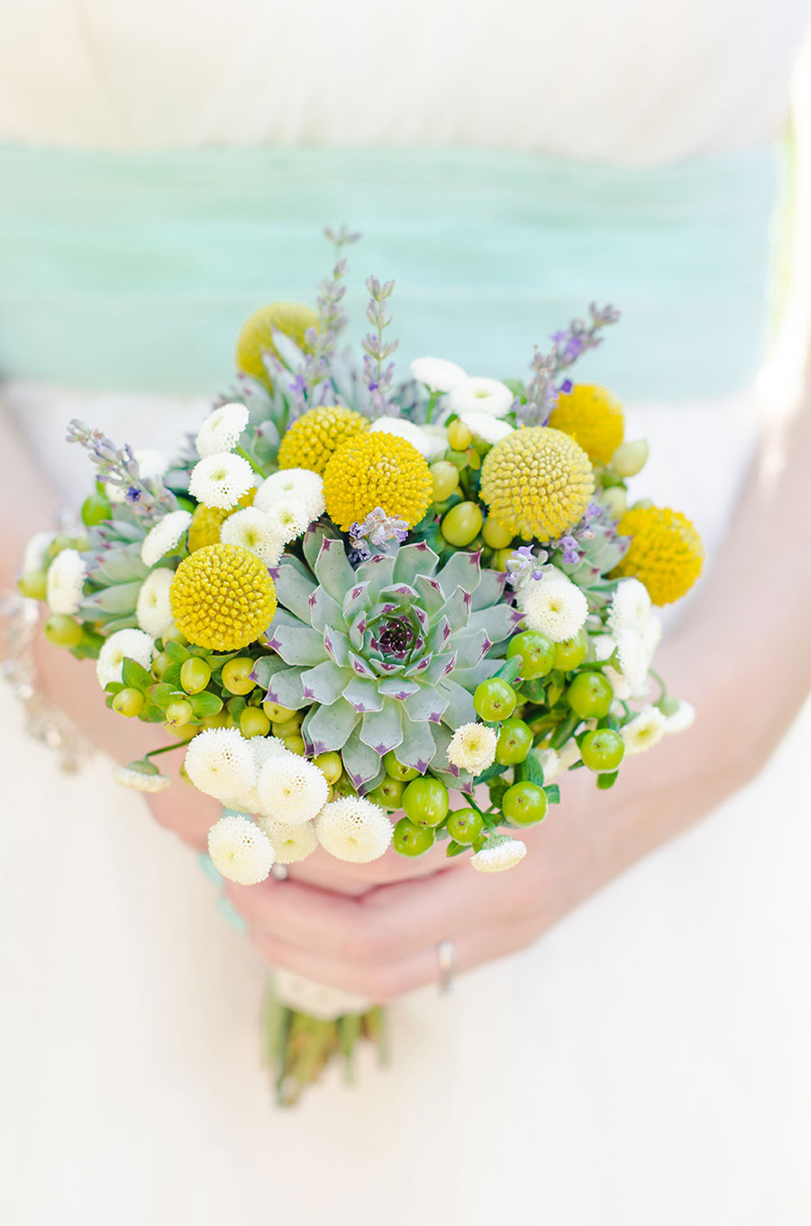 Succulent Wedding Bouquet with yellow and white flowers