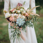 Succulent Wedding Bouquet with peach flowers