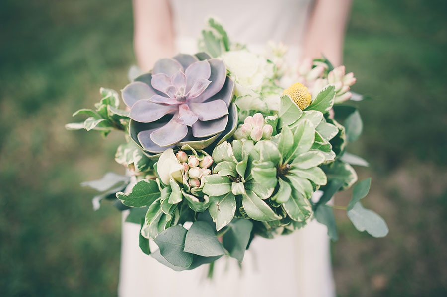 Succulent Wedding Bouquet with one large purple succulent