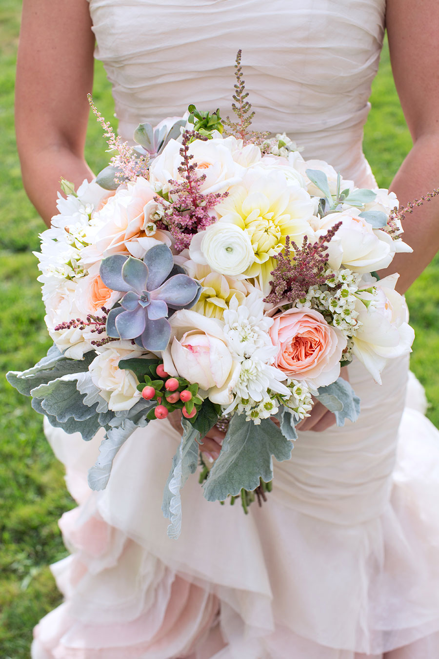Succulent Wedding Bouquet in pastel hues