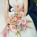 Soft Romantic Pastel Peach Wedding Inspiration Couple with Flowers