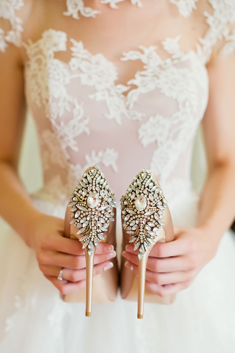 Soft Romantic Pastel Peach Wedding Inspiration peach shoes with crystal design