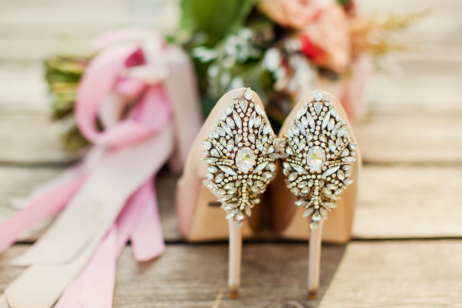 Soft Romantic Pastel Peach Wedding Inspiration peach wedding shoes up close
