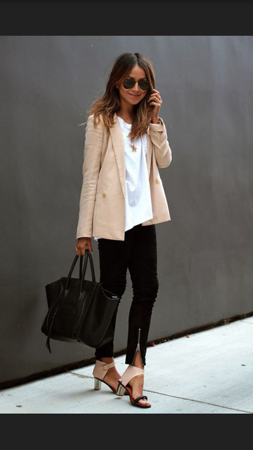 Spring Jacket Fashion Inspiration Peach doublbreasted blazer jacket