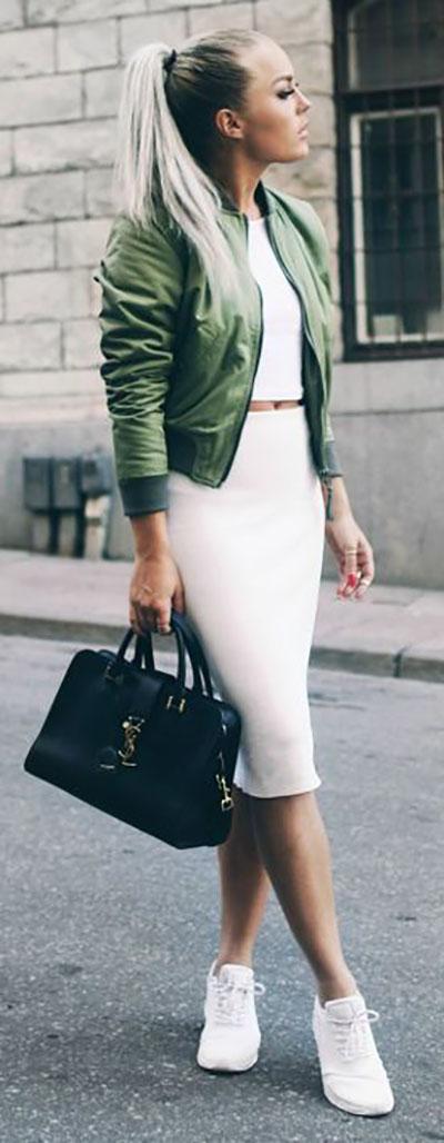 dbc7dce81930b Spring Jacket Fashion Inspiration Green Bomber Style Jacket