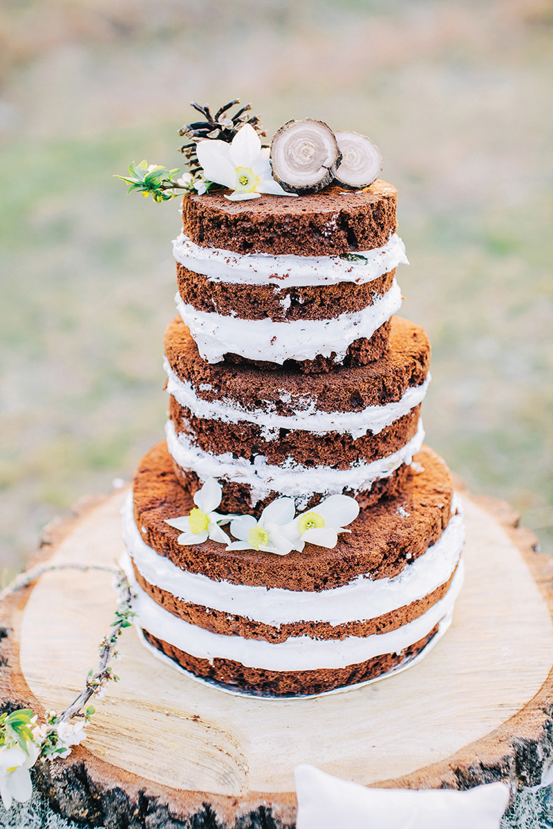 Naked wedding cake with rustic accents