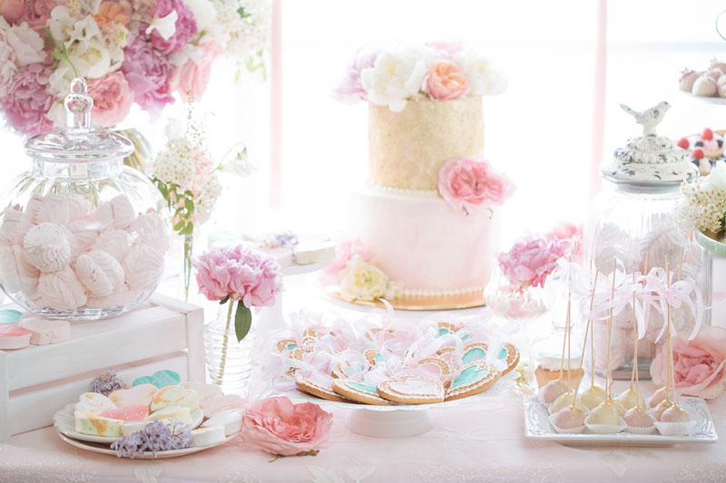Pretty Pastel Wedding Inspiration - pastel cake and sweet table