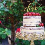 Naked Wedding Cake with beautiful cake topper