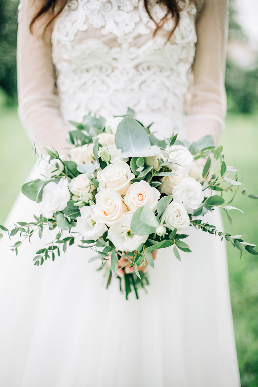 Summer Wedding Bouquet featuring white and blush roses