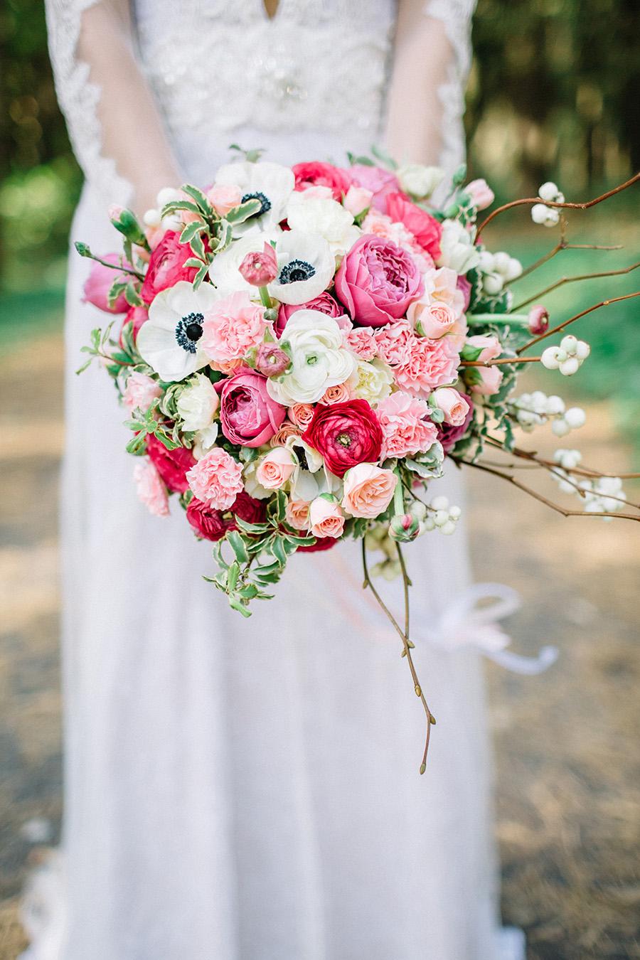 Summer Wedding Bouquet - large bright pink bouquet
