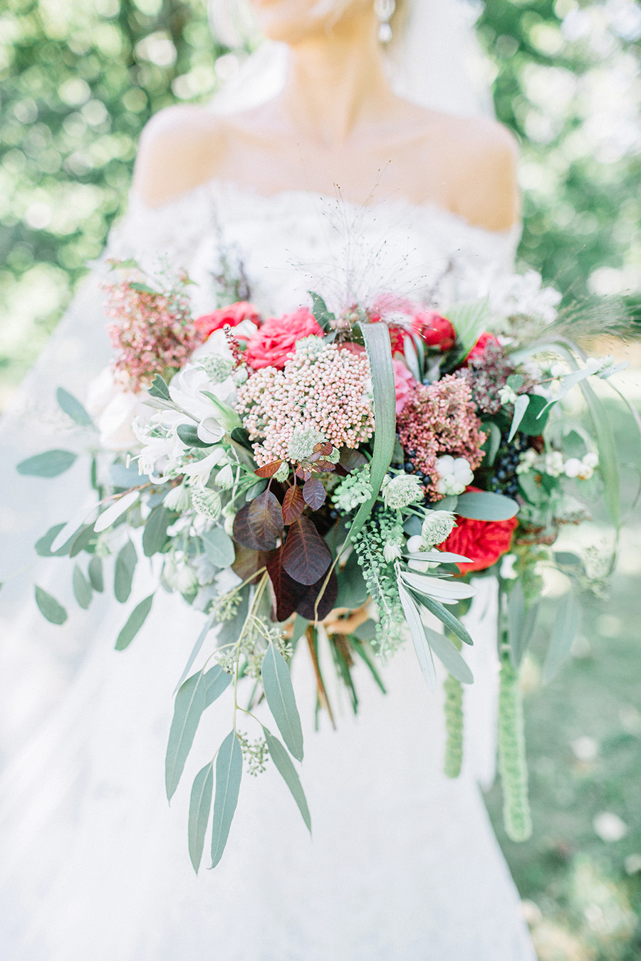 Summer Wedding Bouquet with red and peach