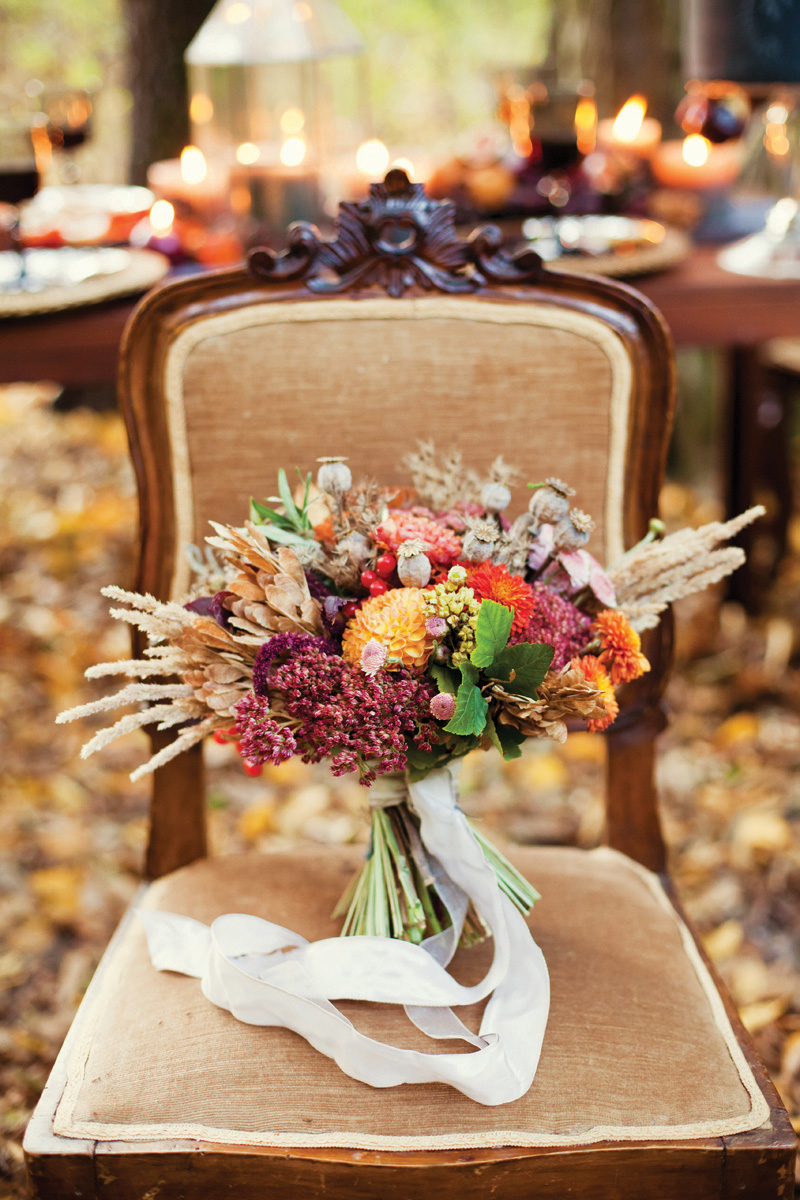 Fall Wedding Inspiration bouquet on table