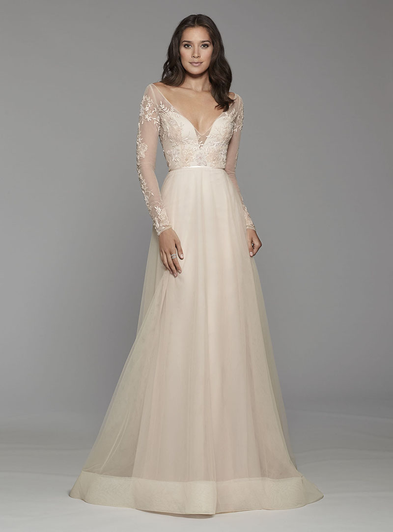 Tara Keeley Blush Wedding Gown with Long Sleeves