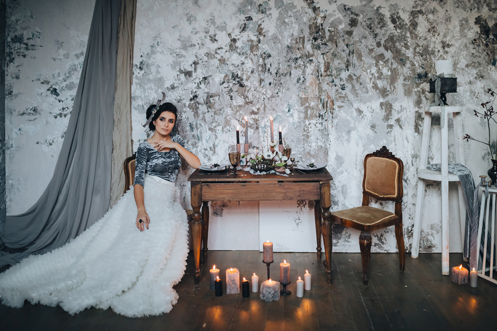 Winter wedding inspiration bride at table