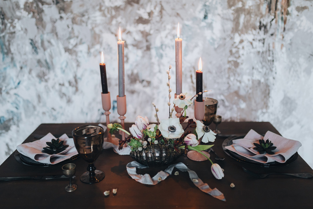 Winter wedding inspiration candles on table