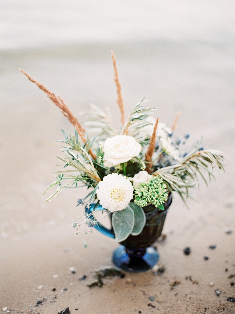 Romantic Blue Lakeside Wedding Inspiration - Centerpiece on the sand