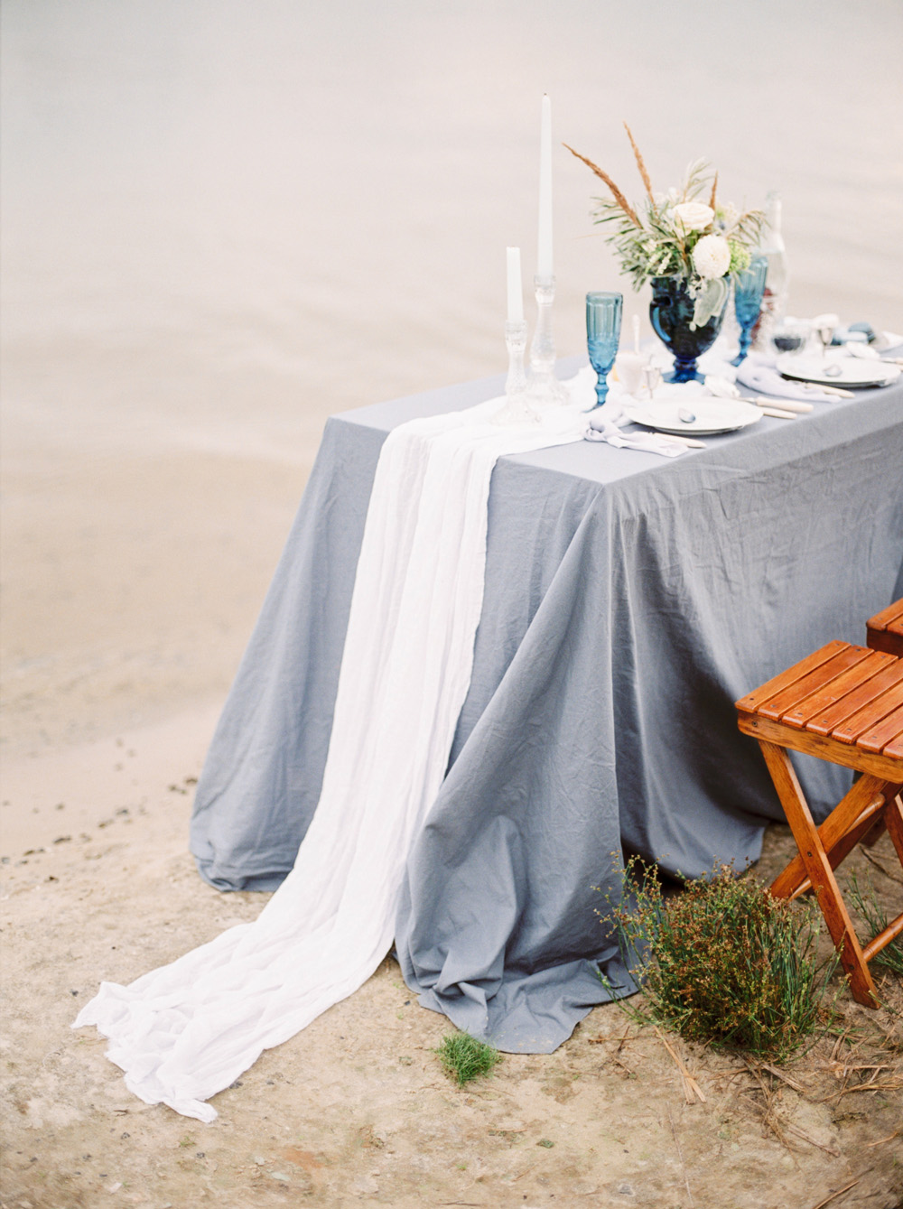 Romantic Blue Lakeside Wedding Inspiration - table by lake