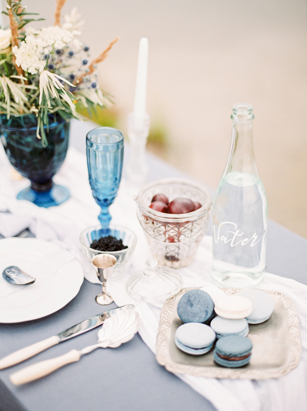 Romantic Blue Lakeside Wedding Inspiration - table setting by the lake
