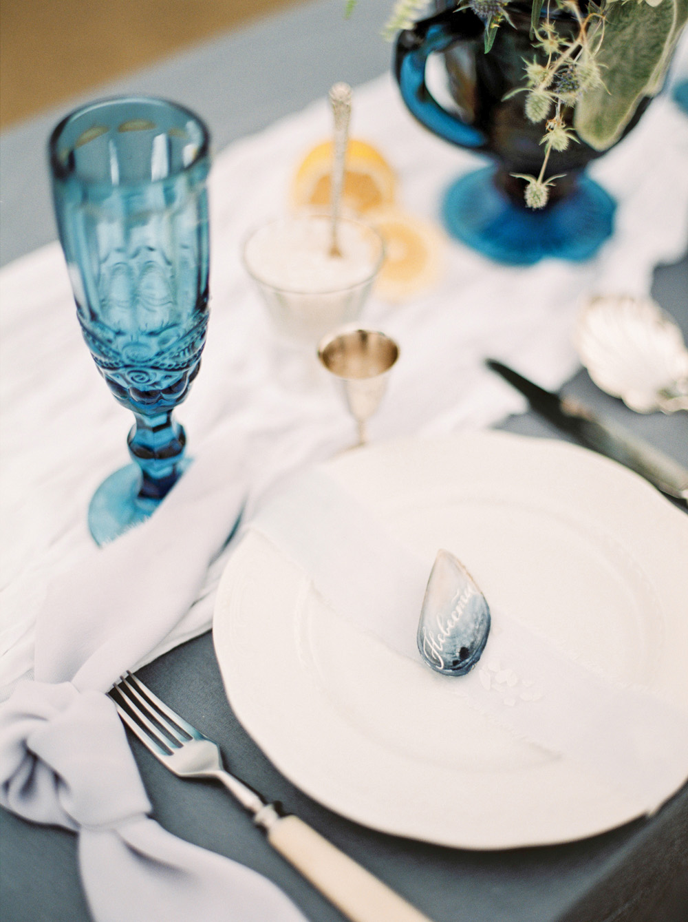 Romantic Blue Wedding Inspiration - Close up of plate and favor