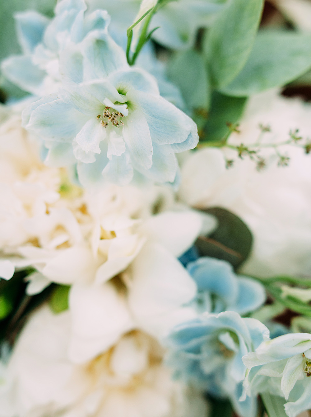Romantic Blue Lakeside Wedding Inspiration - Close up of bouquet flowers