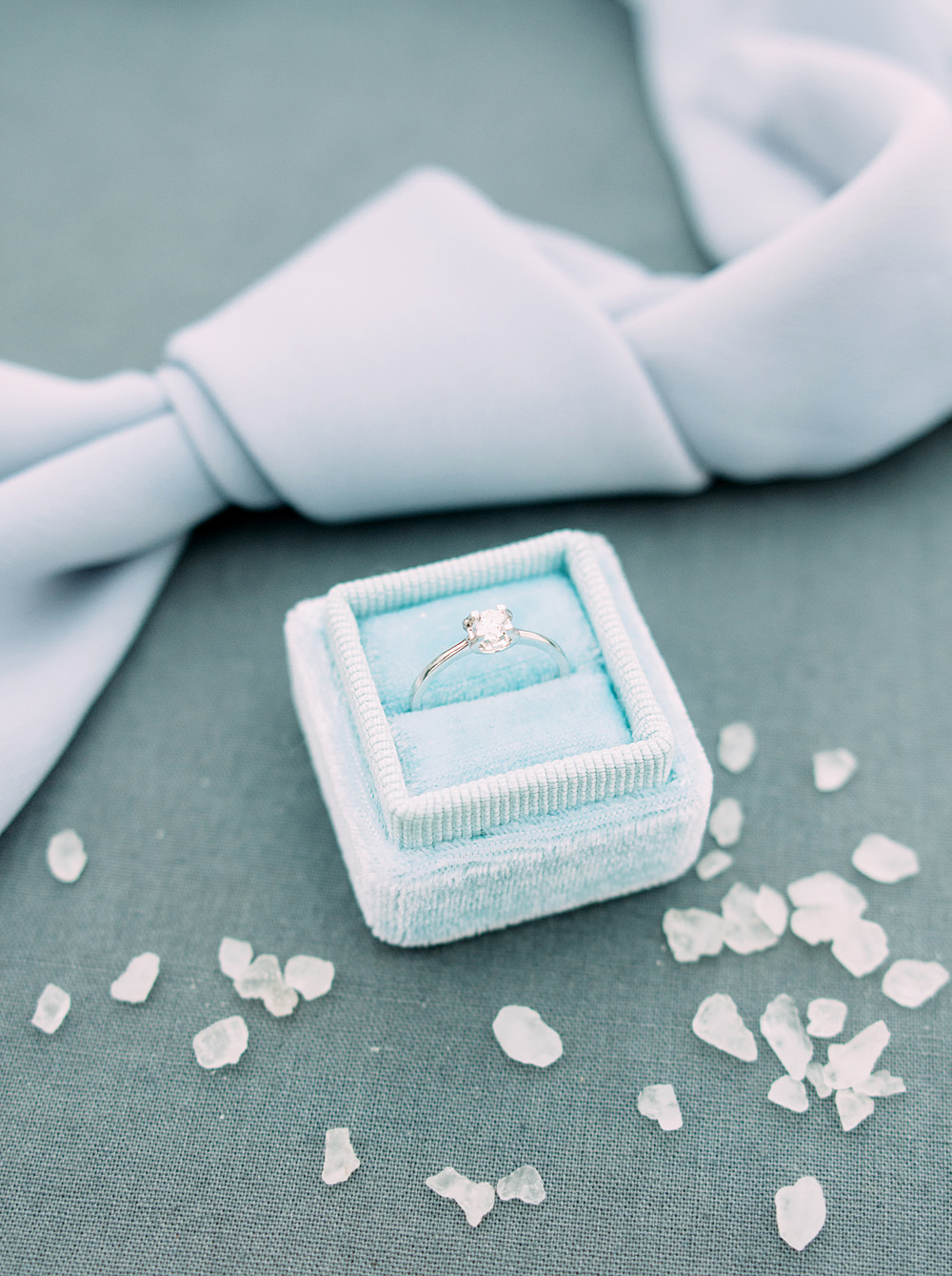 Romantic Blue Lakeside Wedding Inspiration - Ring in Blue Mrs Ring Box