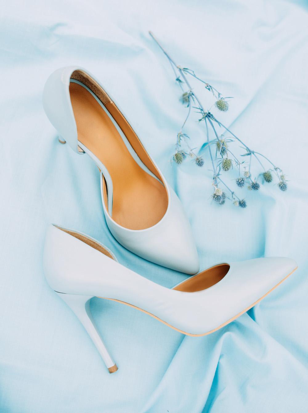 Romantic Blue Lakeside Wedding Inspiration - Light blue wedding shoes