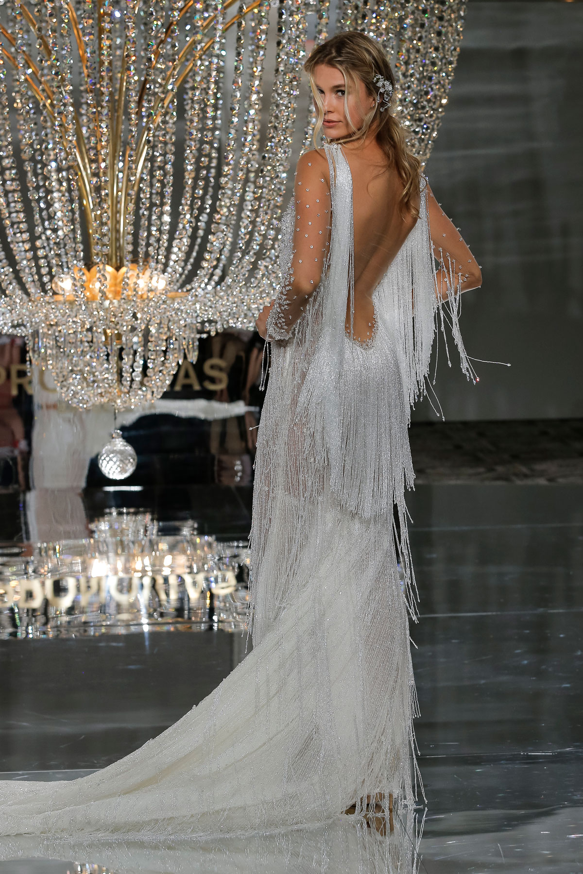 wedding dress trends - feathers and fringe by Pronovias